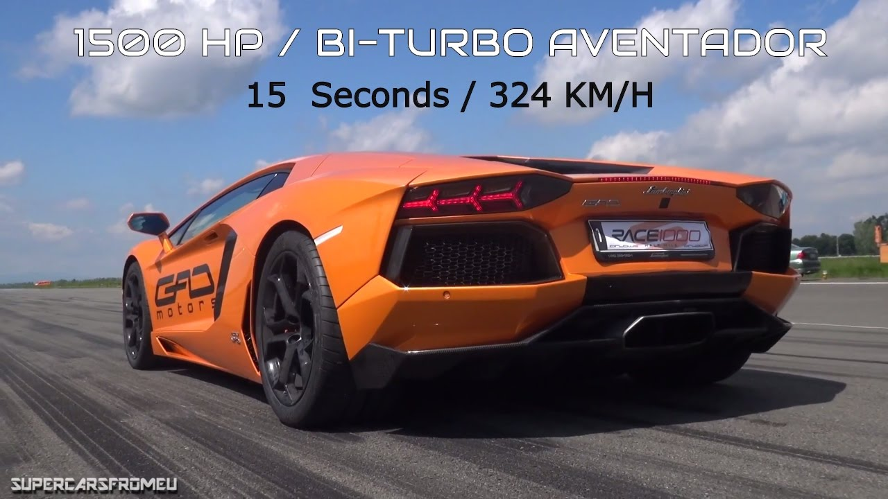 1500 HP LAMBORGHINI AVENTADOR BI-TURBO 324 KMH / 1/2 MILE RACE ...