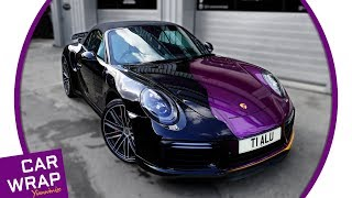 Porsche 911 Turbo Cab wrapped Gloss Purple with Gloss Gold