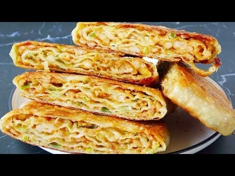 千层早餐饼的做法,表皮酥脆,层次丰富