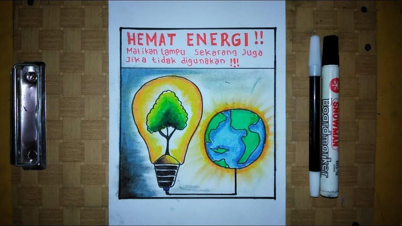 Cara Membuat Poster Hemat Energi Listrik Matikan Lampu