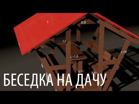 Компактная беседка на дачу своими руками (размеры и 3D анимация сборки) DIY Wooden arbor