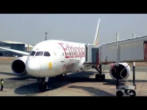 Ethiopian Boeing 787 Dreamliner taxiing at Harare International Airport