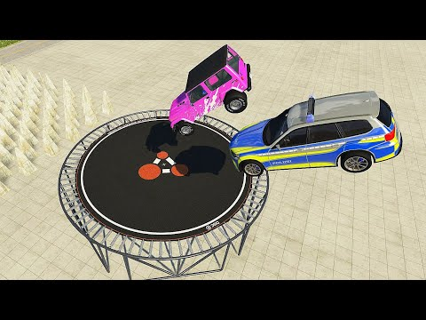 Crazy Vehicle High Speed Jumps On Giant Trampoline #2 (Crash Test) - BeamNG.drive Jumps  