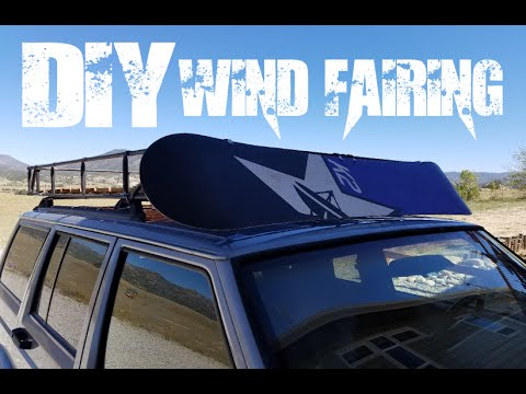 DIY Roof Rack Wind Fairing from a Snowboard (wind screen