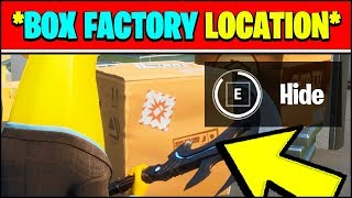 HIDE IN A CREEPIN' CARDBOARD AT THE BOX FACTORY LOCATION (Fortnite WEEK 7 Challenges)
