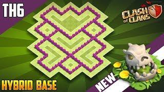 """BEST BASE"" TH6 HYBRID/FARMING [defense] Base 2018!! Town Hall 6 Hybrid Base Design - Clash of Clans"