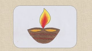 How to draw  Diwali Diya or Earthen Lamp for kids