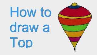 How to draw a Top. Top drawing step by step- Sayataru Creation