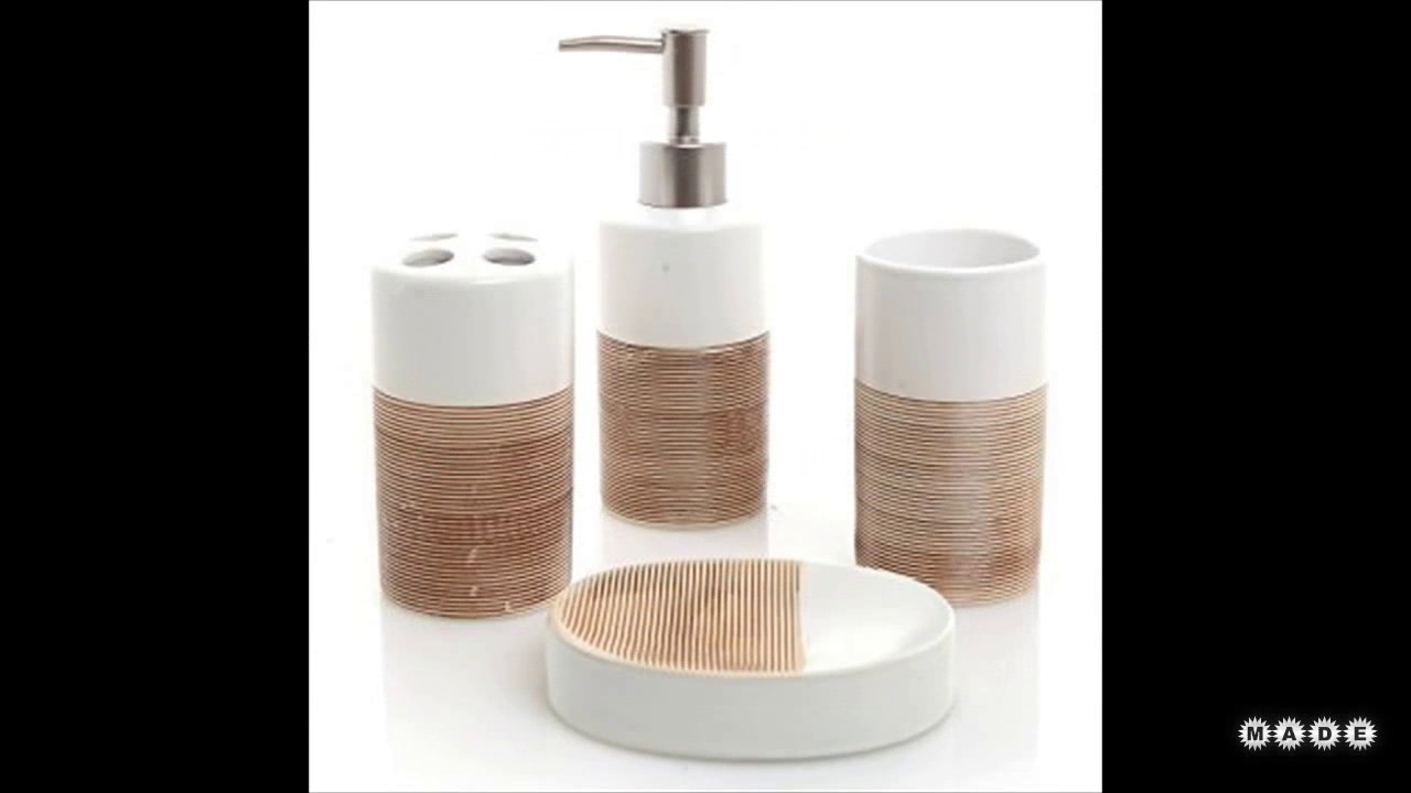 Brown and white bathroom accessories youtube for Brown and white bathroom accessories