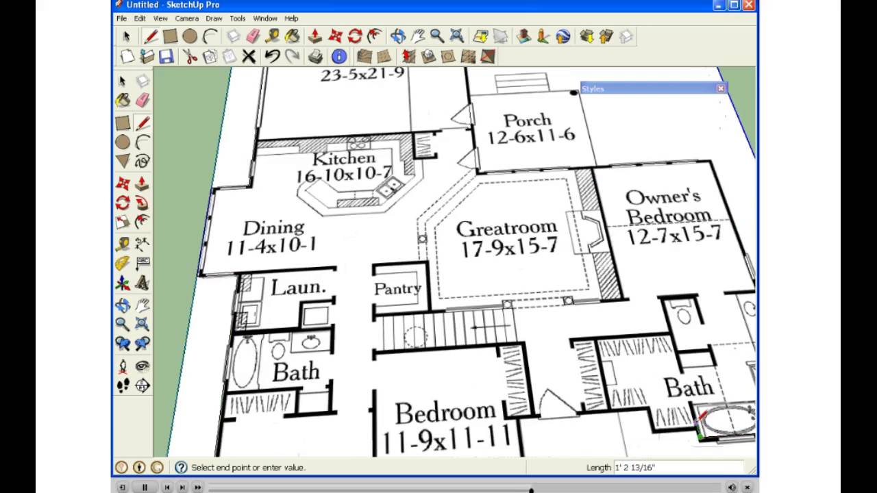 Import floorplan into sketchup youtube for Floor plans in sketchup