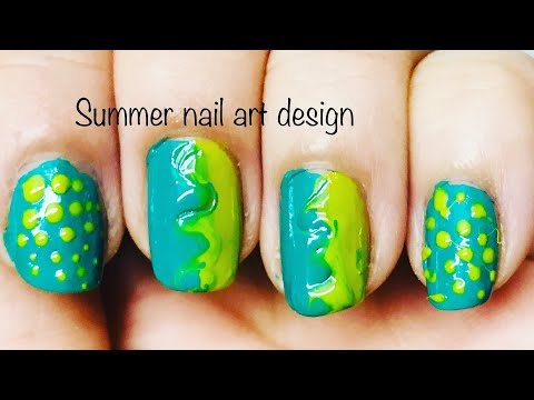 Summer nail art design tutorial ! Colors of green ! Simple and easy nail art technique! Trend 2019 thumbnail