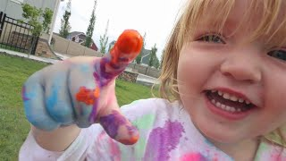 Backyard PAiNT Water Slide!!  painting outside with our Family, new Baby clothes & toy car skates