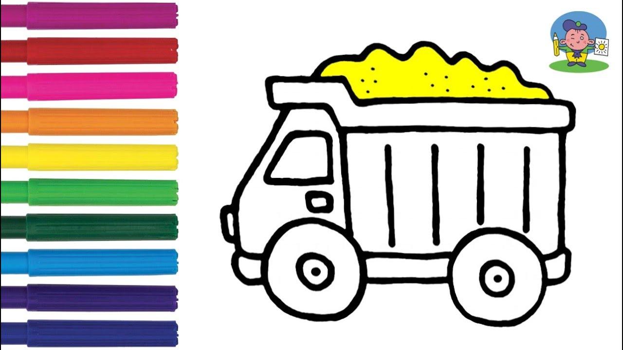 Как нарисовать МАШИНУ САМОСВАЛ / Мультик раскраска ...