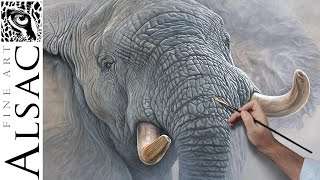"""""""High and Mighty"""" - Oil Painting Demo of an African Elephant by  Alsac"""