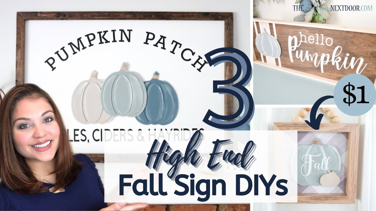 3 DIY FALL FARMHOUSE SIGNS | High End Fall Decor with the Cricut Maker