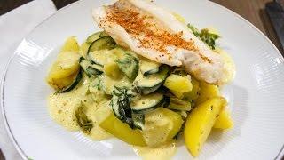 Seelachs auf Zucchini-Kartoffelgemüse an Senfschaum -- Rezept und Anleitung - Natürlich Lecker