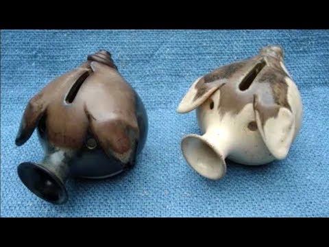 Handmade Wheel-turned Ceramic Bank Wheat-toned Piggy Bank