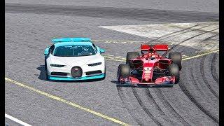 Ferrari F1 2018 vs Bugatti Chiron  Top Gear Track