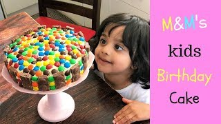 Easy M&M's Birthday cake for Kids ( no oven & no cake decorating kit )