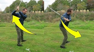 Right elbow KEY to shallow the golf club and hit it further