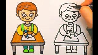 공부하는 사람 쉽게 그리기(어린이 모습, 그림 일기, …