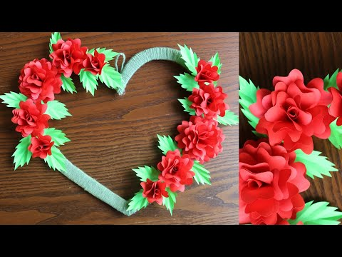 Paper Rose Wall Hanging - Easy Wall Decoration Ideas - DIY Wall Decor