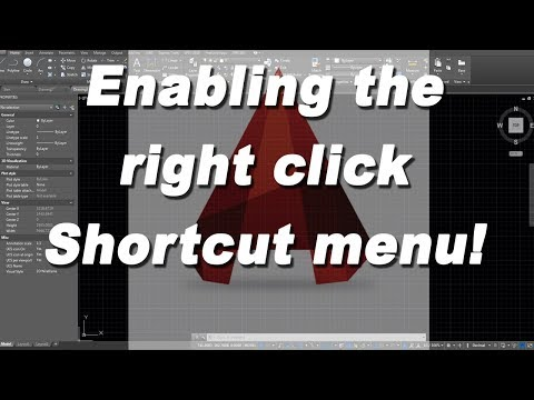 How to turn on the right click shortcut menu in Autodesk Autocad