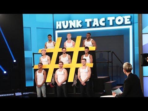 Ellen duces 'Hunk Tac Toe'
