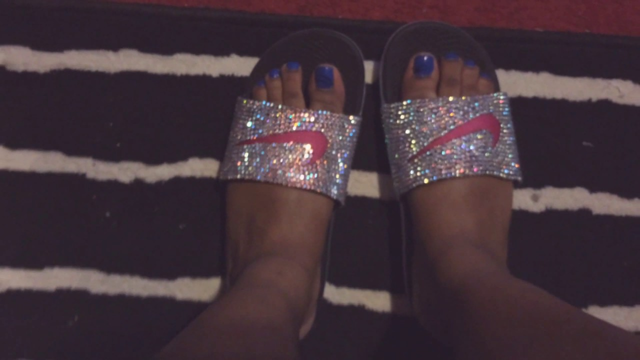 a0ec61e35325 DIY NIKE BLING RHINESTONE SLIDES - YouTube