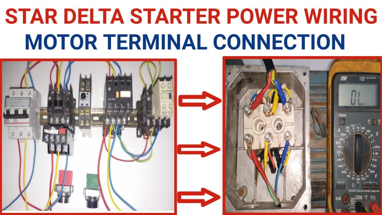 Star Delta Starter Power Wiring Connection Motor Terminal Connection Youtube