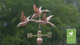Gd657p Three Geese In Flight Weathervane Polished Copper