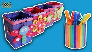 CANTIK.! Kreasi Kotak Pensil Pelangi Dari Stik Es Krim | DIY Colorful Desk Organizer