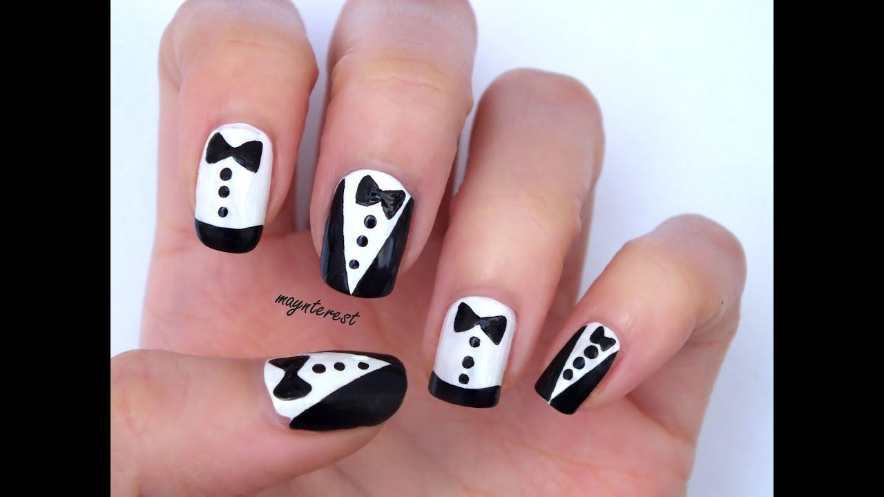 2 dise os de u as esmoquin smoking nail art youtube for Disenos de unas