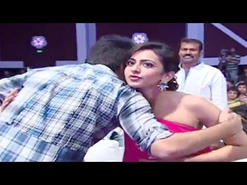 Ram Romantic Tight Hug To Rakul Preet Singh At Pandaga Chesko Audio Launch - Ram, Rakul Preet