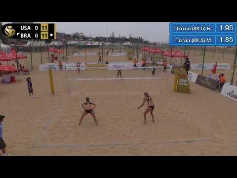 Beach Volleyball - Xiamen - Round 3 - Klineman & Ross (USA) vs Agata & Duda (BRA)