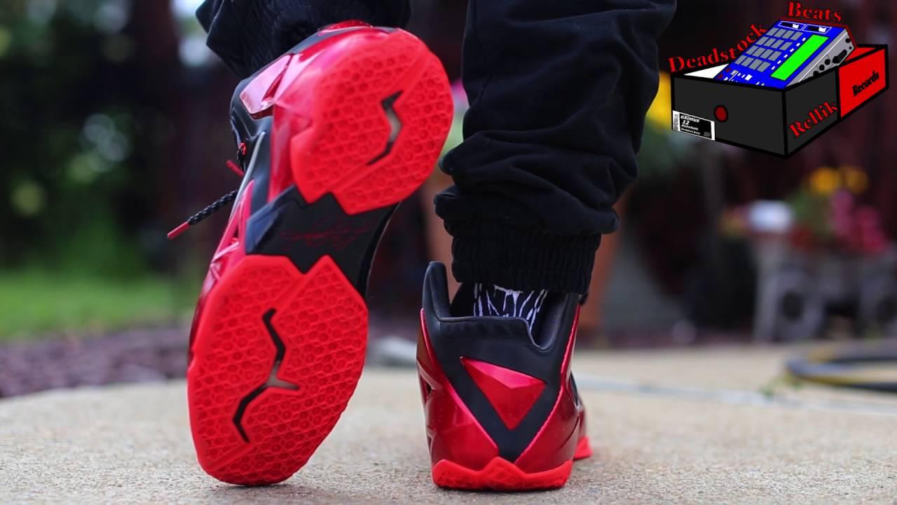 Lebron 11 Away University Red On Feet - YouTube