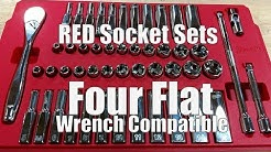 """Milwaukee Slim Profile Ratchets & Wrench Compatible Socket Kits 1/4"""" and 3/8"""" Drive"""