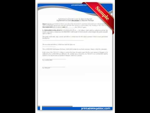 Free printable Agreement to Execute Lease & Deposit Receipt Forms
