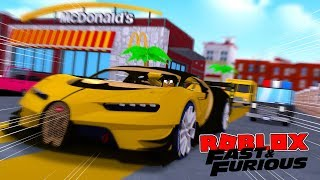 ROBLOX FAST AND THE FURIOUS - DONUT DOES SOME ILLEGAL STREET RACING & GETS CHASED BY THE COPS!!