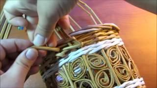 Корзинка с бабочками из газетных трубочек. урок 9. Плетение ручки.