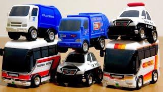 パトカー・バス・ゴミ収集車・ はたらくくるまのプルバックカー のりものこれくしょん 全6種 一発ゲット☆