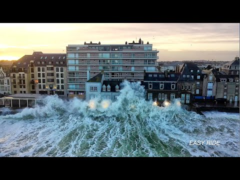Drone in storm - Ciara - Saint-Malo in France