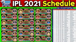 IPL 2021 - Full & Final Schedule | Official Schedule IPL 2021 | All Matches Schedule IPL 2021 |