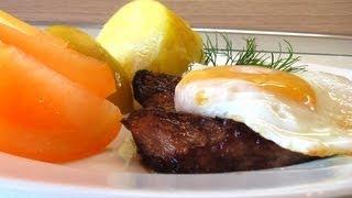 Бифштекс с яйцом видео рецепт. Книга о вкусной и здоровой пище