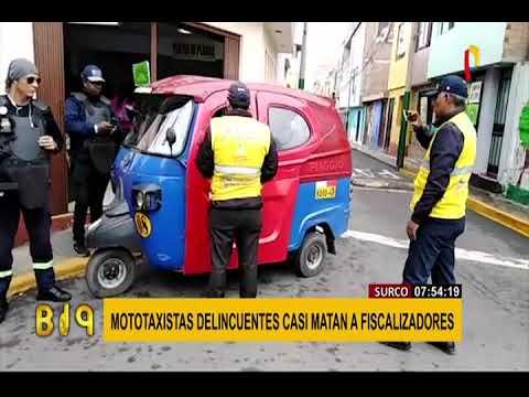 Surco: mototaxistas informales atacan salvajemente a fiscalizadores