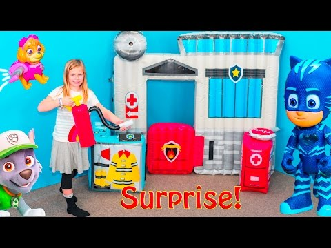 POLICE STATION Surprise Assistant PJ Masks + Paw Patrol +Sing + NERF Surprise Toys Video