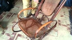 COMFORTABLE SOOTHING 1960s RETRO BENTWOOD & CANEWORK ROCKING CHAIR