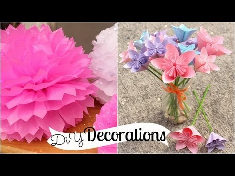 DIY Room Decorations (Tissue Paper Pompoms / Origami Flowers)