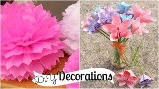 DIY Room Decorations (Tissue Paper Pompoms / Origami Flowers)