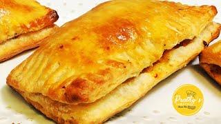 Chicken puffs from homemade pastry sheet- recipe in tamil  - சககன பபஸ (அவண இலலமல )